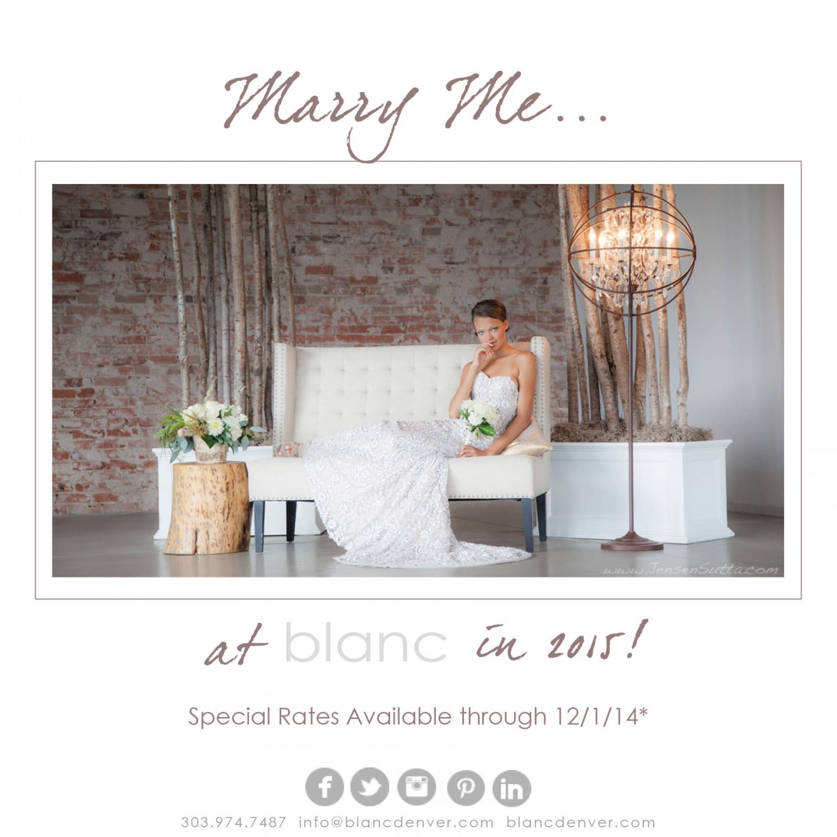 Marry Me…at blanc in 2015! Special rates available through 12/01/14!