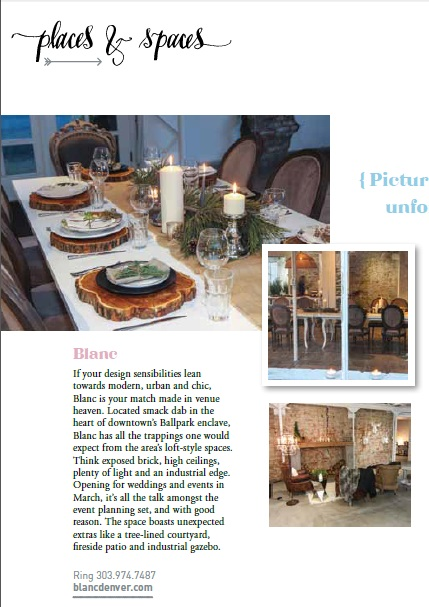 "blanc gets featured in the ""places & spaces"" section of Aisle Style by Reign Magazine"